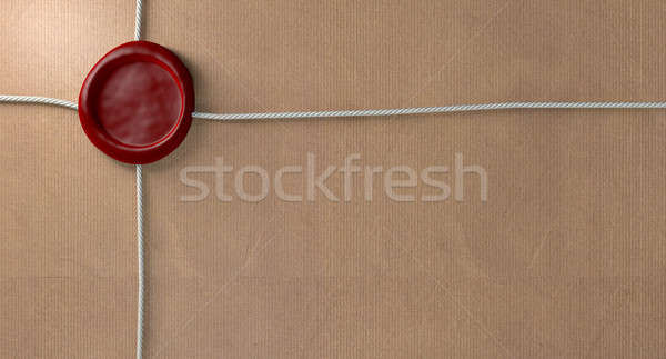 Parcel With Red Wax Seal And String Stock photo © albund