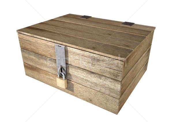 Locked Wooden Chest Stock photo © albund