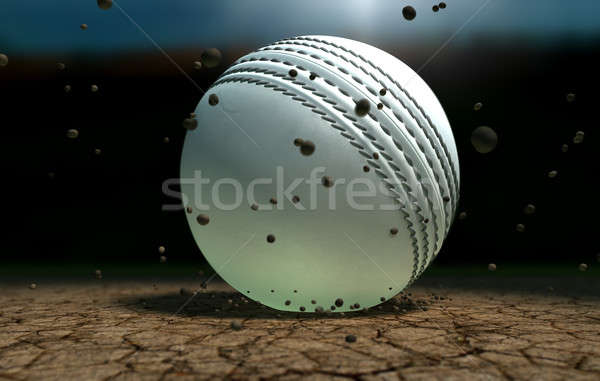 Cricket balle sol particules nuit blanche Photo stock © albund