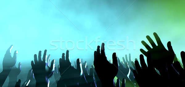 Publiczności ręce światła koncertu tłum poziom Zdjęcia stock © albund