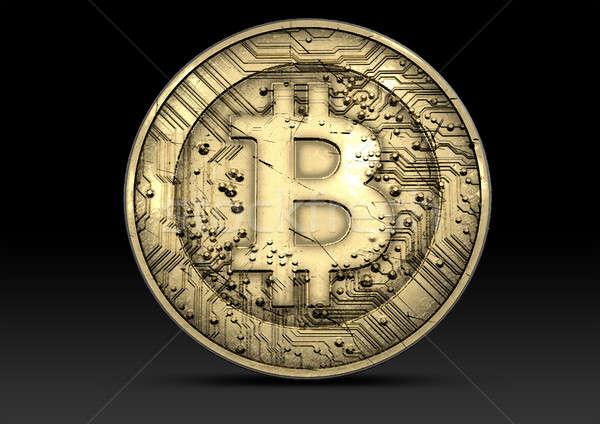 Bitcoin dourado digital moeda moeda Foto stock © albund