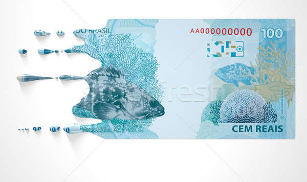 Brazilian Real Melting Dripping Banknote Stock photo © albund