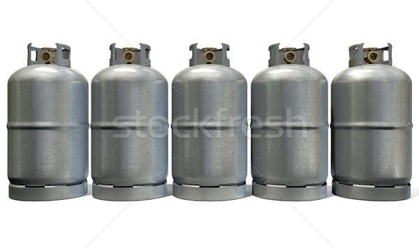 Gas cilinder rij vijf schone metaal Stockfoto © albund