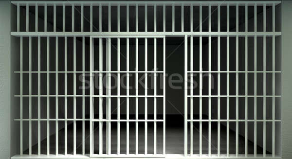 White Bar Jail Cell Front Locked Stock photo © albund