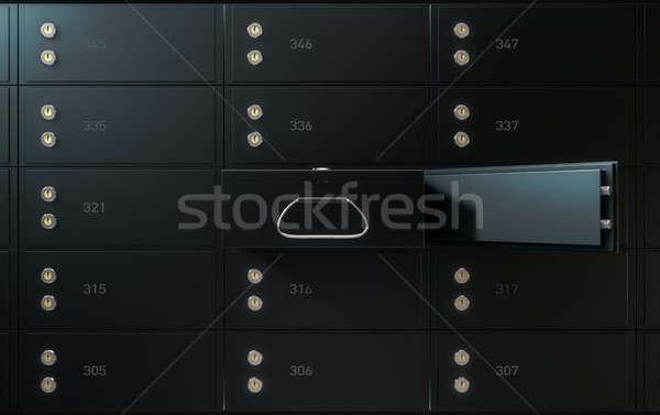 черный безопасной депозит окна стены 3d визуализации Сток-фото © albund