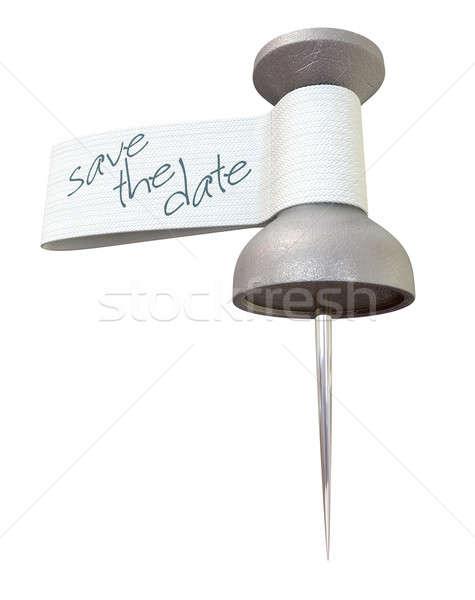 Guardar fecha metal material etiqueta palabras Foto stock © albund