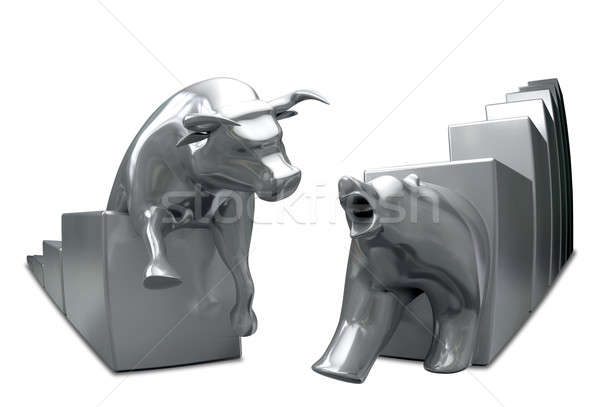 Bull And Bear Converge Metal Fish-Eye Stock photo © albund