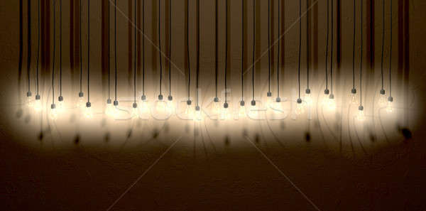 Light Bulb Hanging Wall Arrangement Front Stock photo © albund