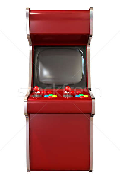 A  vintage red unbranded arcade game with a joystick and four various colored buttons and a blank sc Stock photo © albund