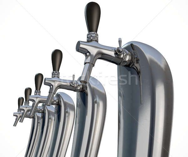 Beer Tap Row Isolated Stock photo © albund