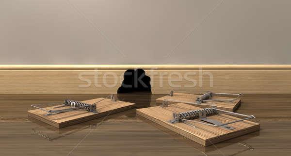 Three Mousetraps Outside A Hole Stock photo © albund