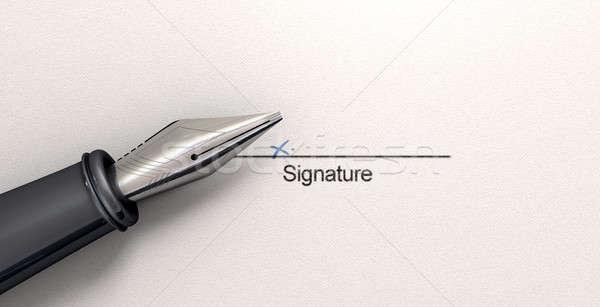 Podpis wieczne pióro biały papieru czarny line Zdjęcia stock © albund