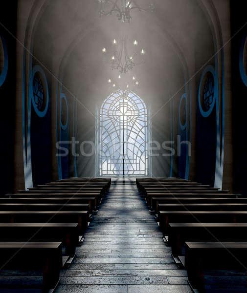 Foto stock: Vitrais · janela · igreja · escuro · interior
