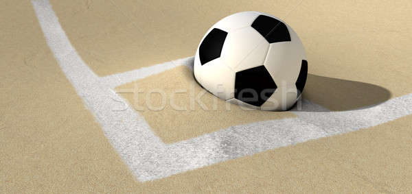 Soccer Ball On A Desert Sand Pitch Stock photo © albund