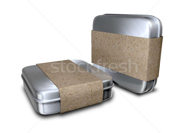 Brushed Metal Tins With Paper Sleeves Stock photo © albund