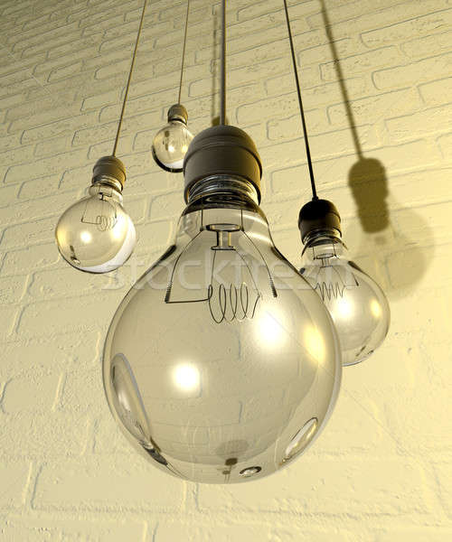 Hanging Light Bulbs And Fittings On A Wall Stock photo © albund