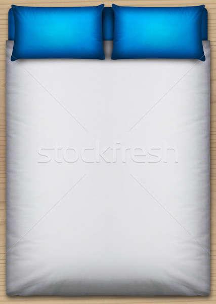 Bed kierować górę widok z góry schludny biały Zdjęcia stock © albund