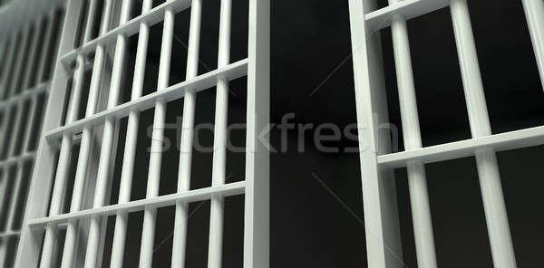 Blanco bar celda de la cárcel perspectiva vista hierro Foto stock © albund