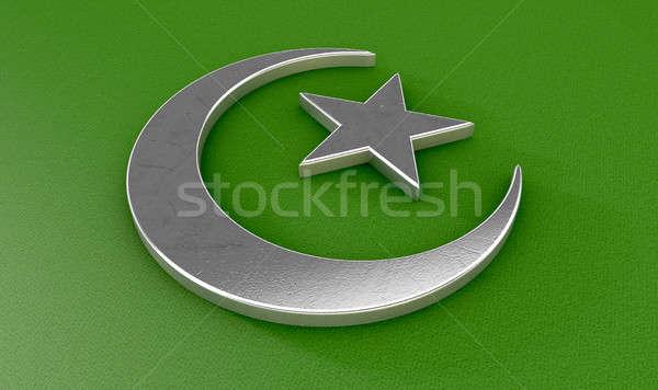 Muszlim félhold csillag fém iszlám zöld Stock fotó © albund