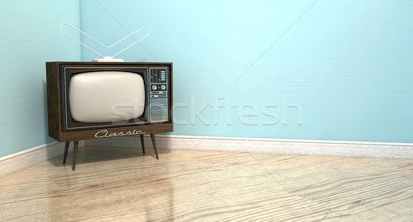 öreg klasszikus televízió szoba klasszikus szett Stock fotó © albund