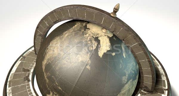 Klasszikus fából készült világ földgömb dísz izolált Stock fotó © albund