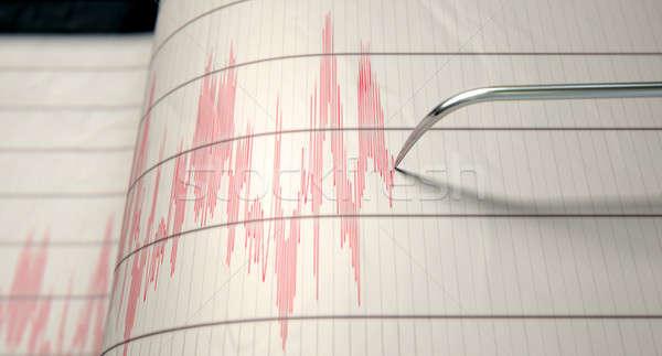 Földrengés tevékenység közelkép gép tű rajz Stock fotó © albund