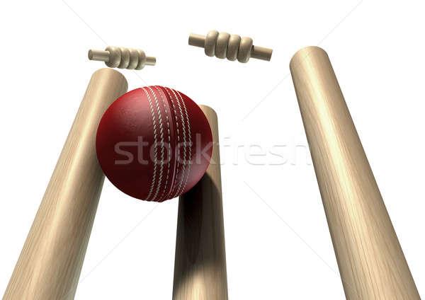 Foto stock: Cricket · pelota · frente · aislado · rojo · cuero