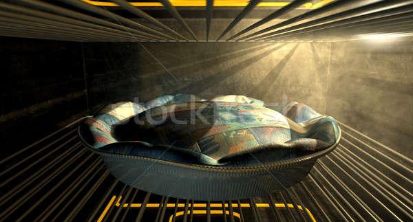 Swiss Franc Money Pie Baking In The Oven Stock photo © albund