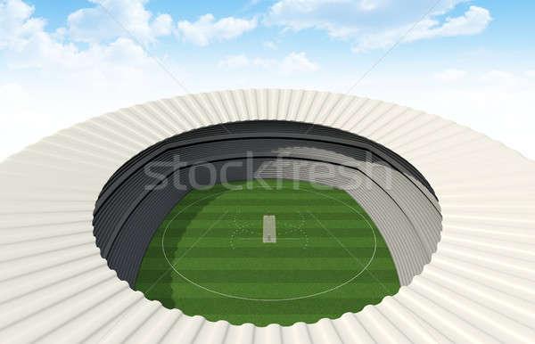 Kriket stadyum gün yeşil ot alan Stok fotoğraf © albund