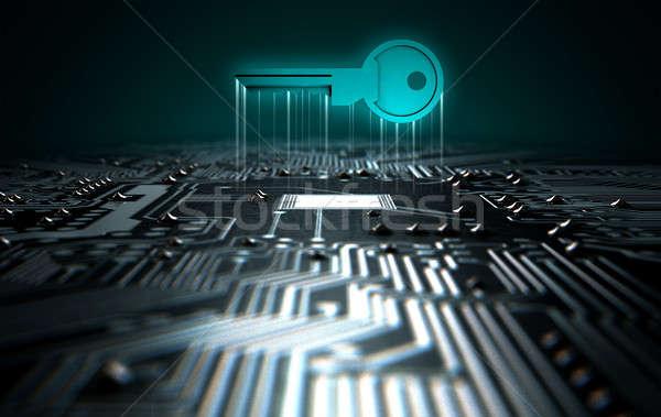 Circuit Board Projecting Key Stock photo © albund