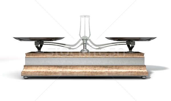 Kettő serpenyő egyensúly mérleg üres öreg Stock fotó © albund