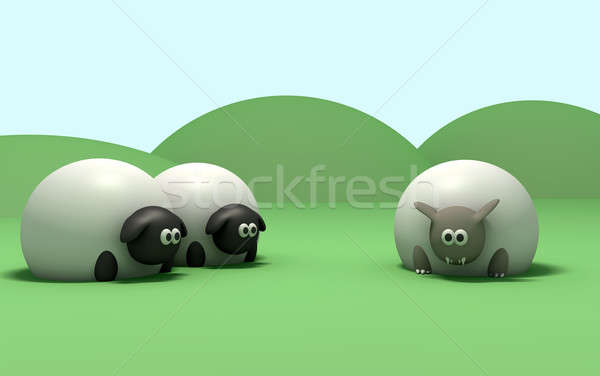 Wolf in sheeps clothing Stock photo © albund