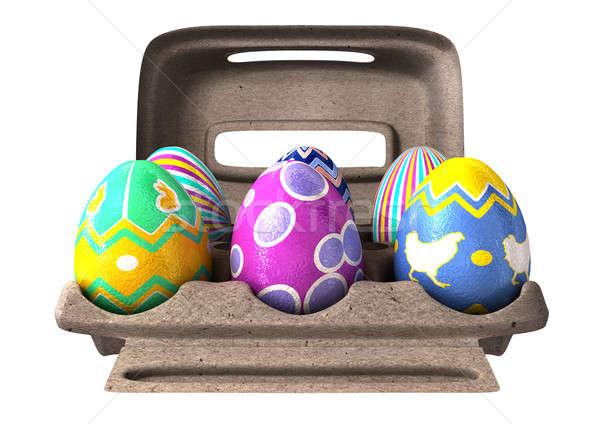 Easter Eggs in an Egg Box Stock photo © albund