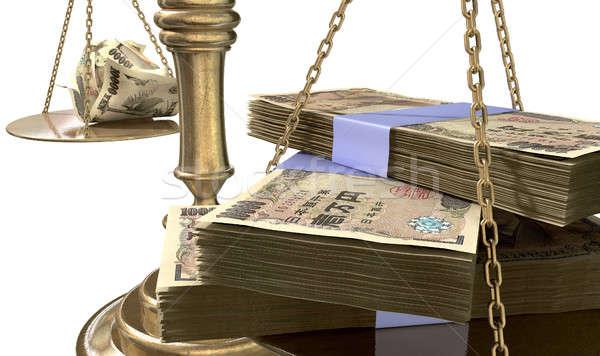 Schalen justitie inkomen kloof oude school Stockfoto © albund