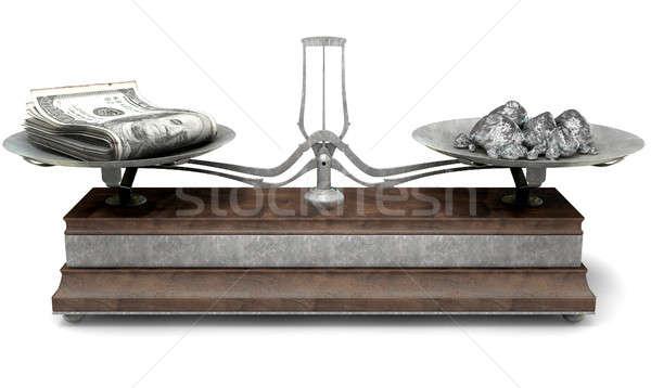 Evenwicht schaal vergelijking oude metaal hout Stockfoto © albund