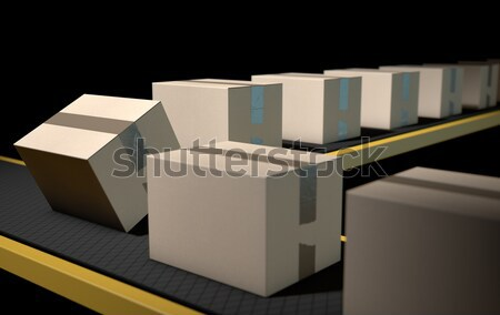 Golden Wrapped Gift Box On Conveyor Stock photo © albund