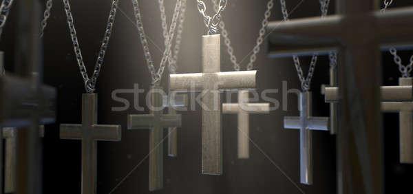 Akasztás fém csoport lánc sötét lánc Stock fotó © albund