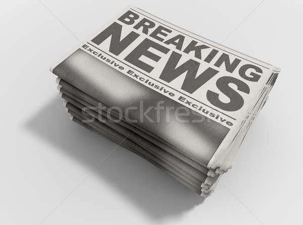 Newspaper Stack Breaking News Stock photo © albund
