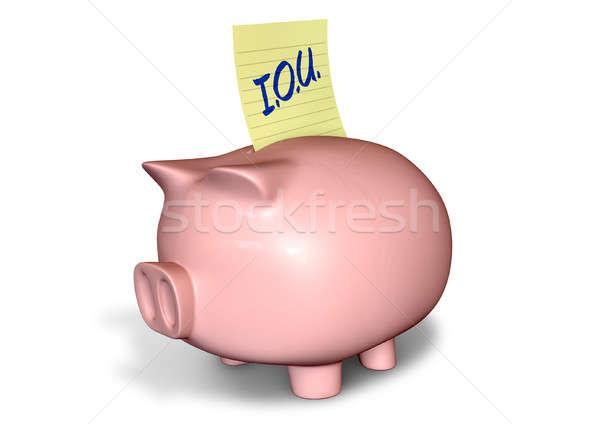 Piggy Bank IOU Stock photo © albund