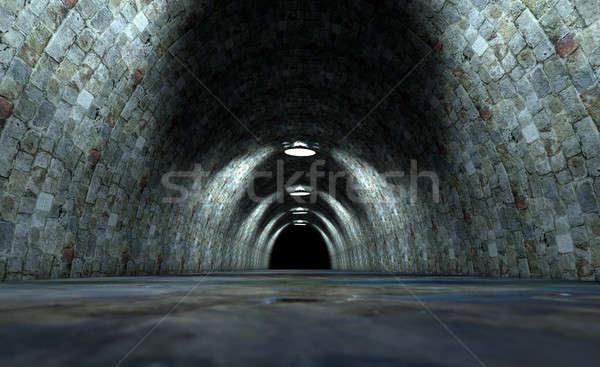 долго туннель фары мнение вниз кирпича Сток-фото © albund