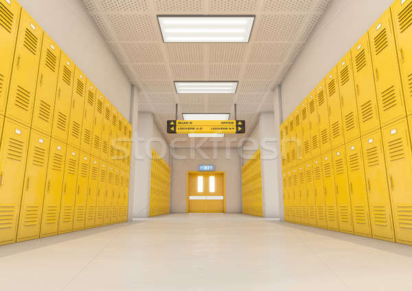 Yellow School Lockers Light Stock photo © albund
