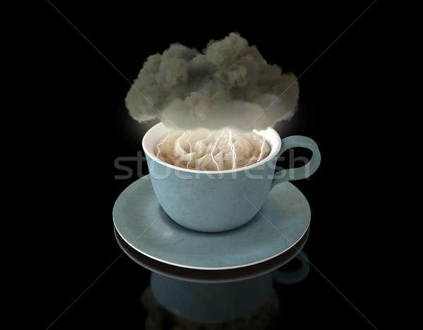 Stok fotoğraf: Fırtına · çay · fincanı · siyah · bulut · fincan · çay