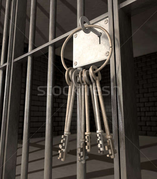 Jail Cell With Closed Door And Bunch Of Keys Stock photo © albund