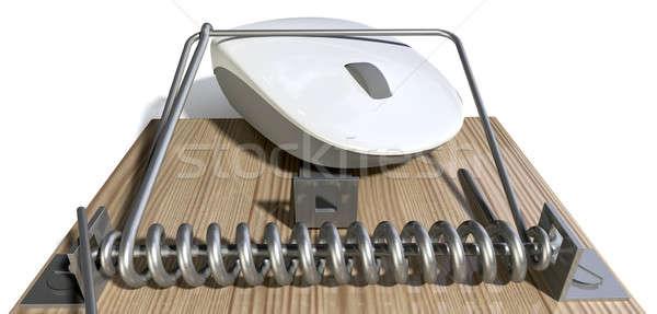 Atrapado ratón de la computadora regular madera metal blanco Foto stock © albund