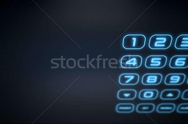 Modern interaktif ev güvenlik 3d render dokunmatik ekran Stok fotoğraf © albund