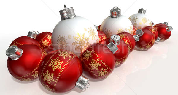 Ornate Matte White And Red Christmas Baubles Stock photo © albund