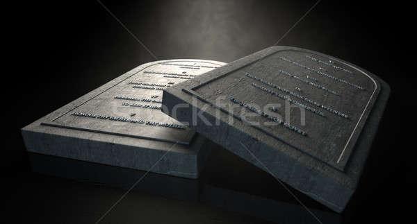 Dziesięć dwa przedstawiciel kamień odizolowany ciemne Zdjęcia stock © albund