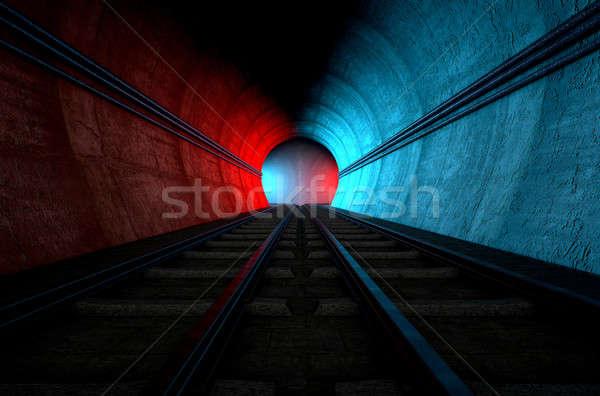 Vonat alagút lehetőségek tégla földalatti kettő Stock fotó © albund