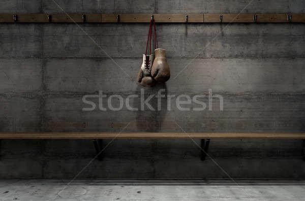 Worn Vintage Boxing Gloves Hanging In Change Room Stock photo © albund