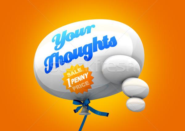 пенни белый мысли пузырь оранжевый Сток-фото © albund